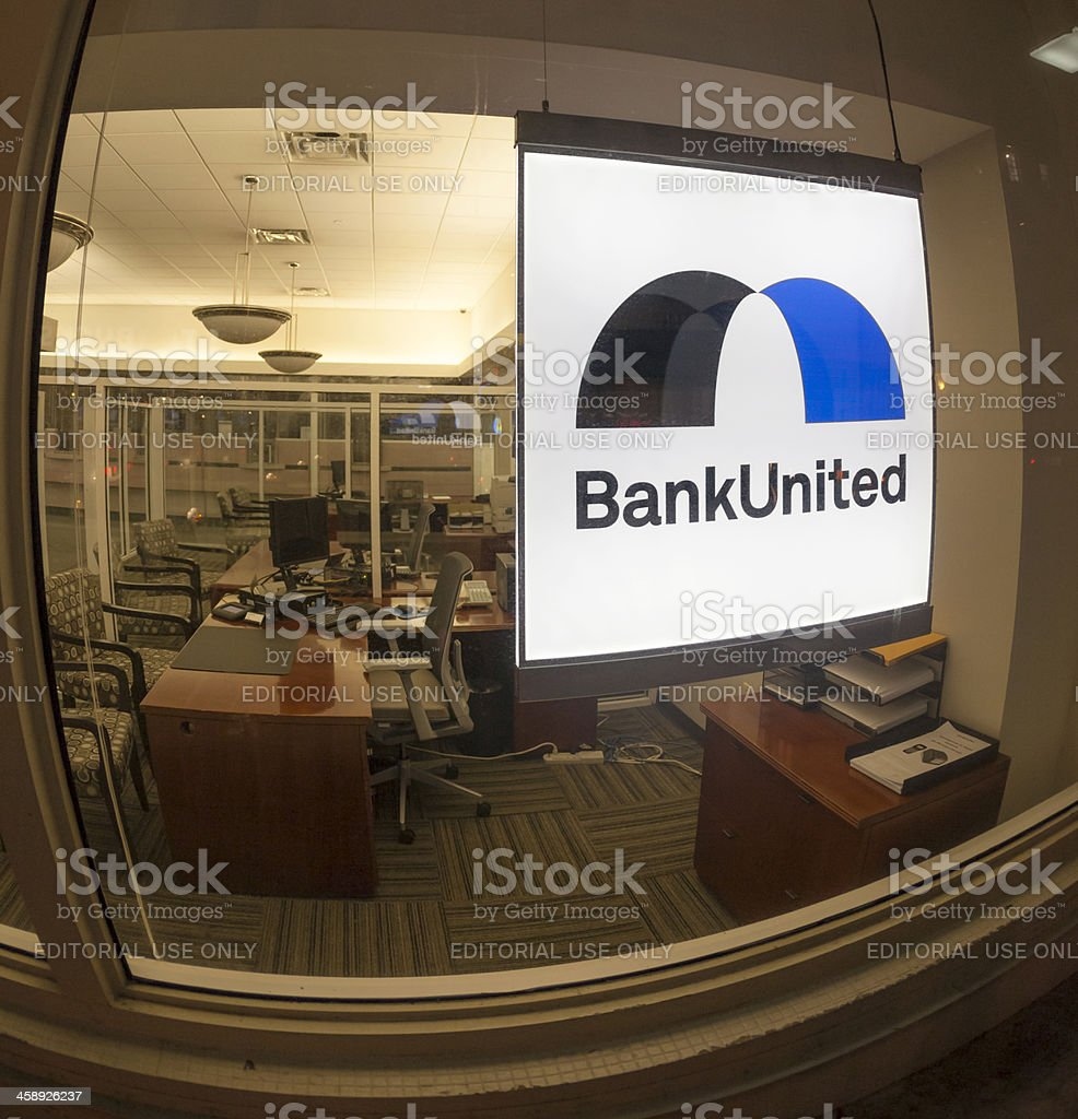 Bank United logo and sign; office closed royalty-free stock photo