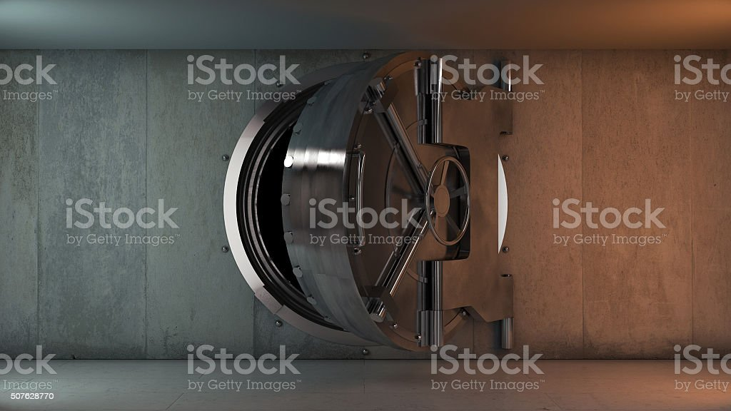 Bank Vault Door Opening stock photo