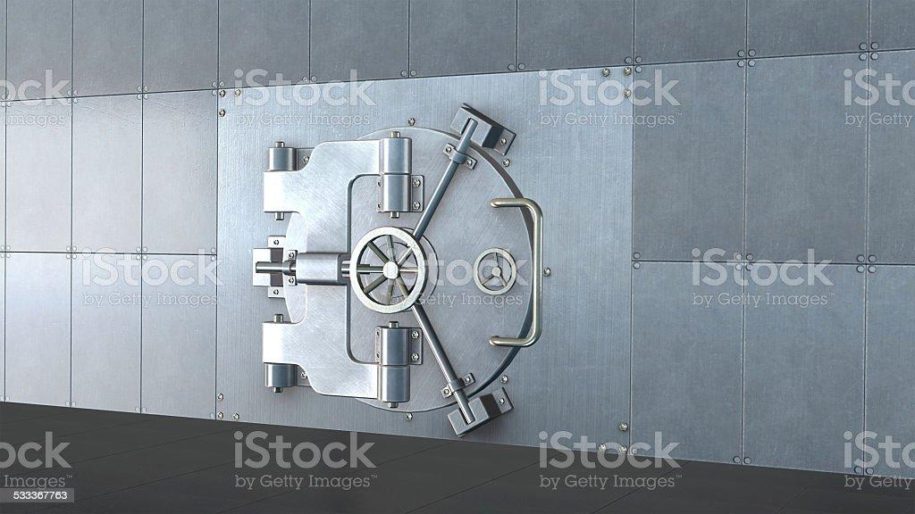 Bank vault door stock photo
