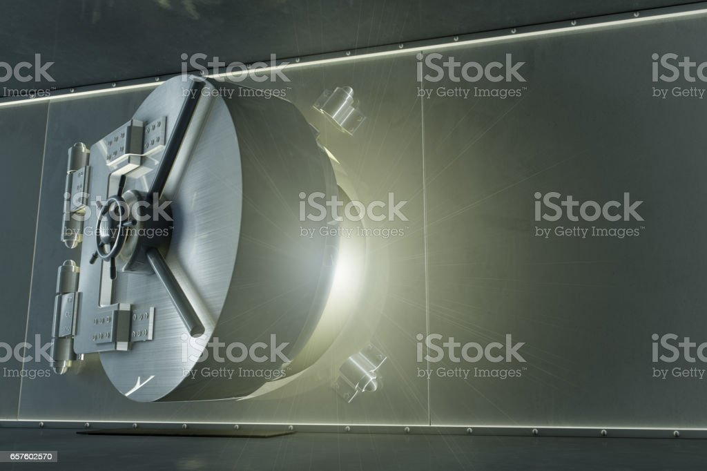 Bank Vault Glowing with Copy Space stock photo