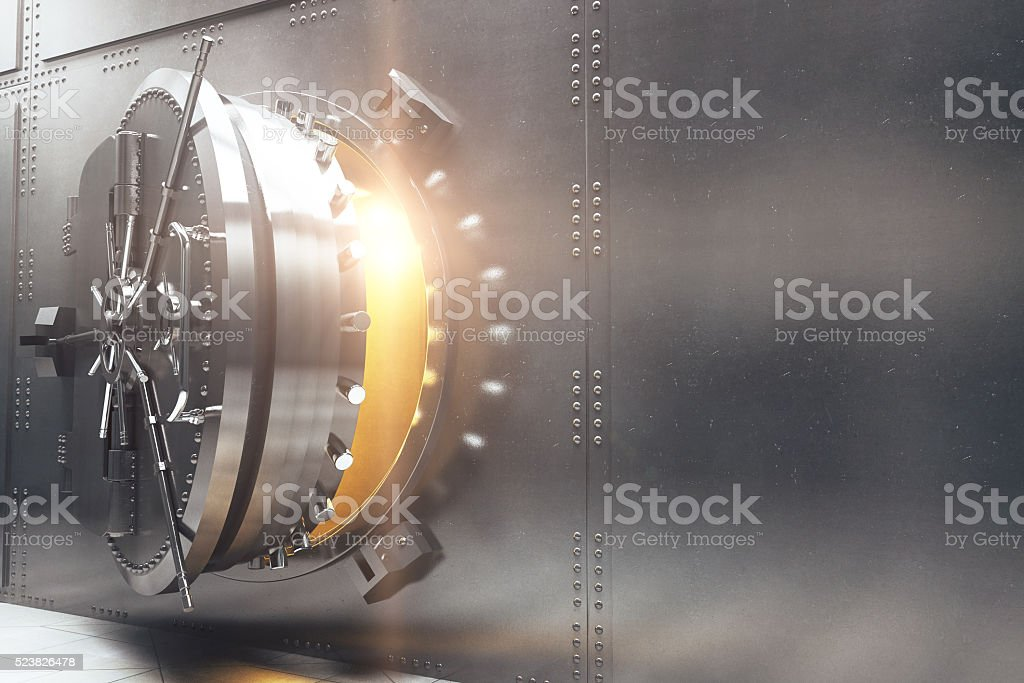 Bank vault side stock photo