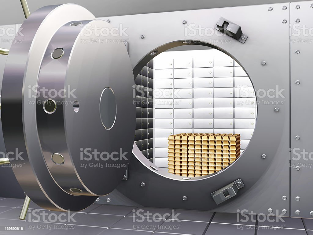 Bank vault with gold royalty-free stock photo