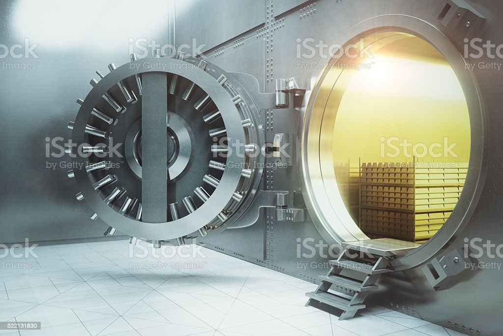Bank vault with gold stacks side stock photo