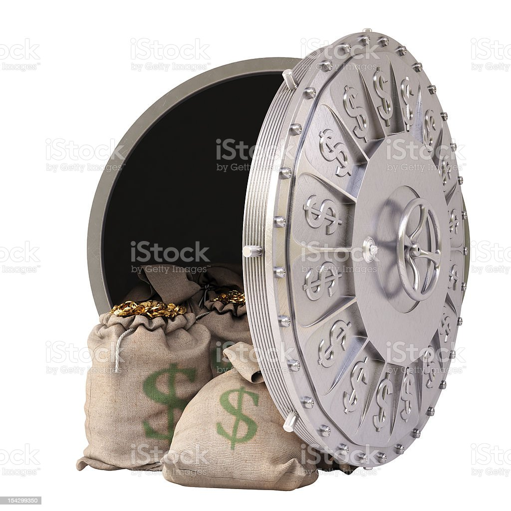 A bank vault with sealed money bags royalty-free stock photo