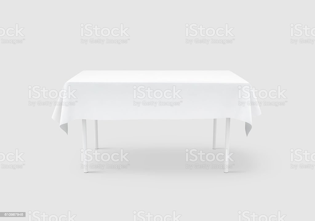 Bank white table cloth mock up, clipping path, stock photo