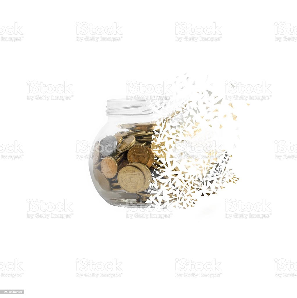 Bank with coins to crumble into small pieces stock photo