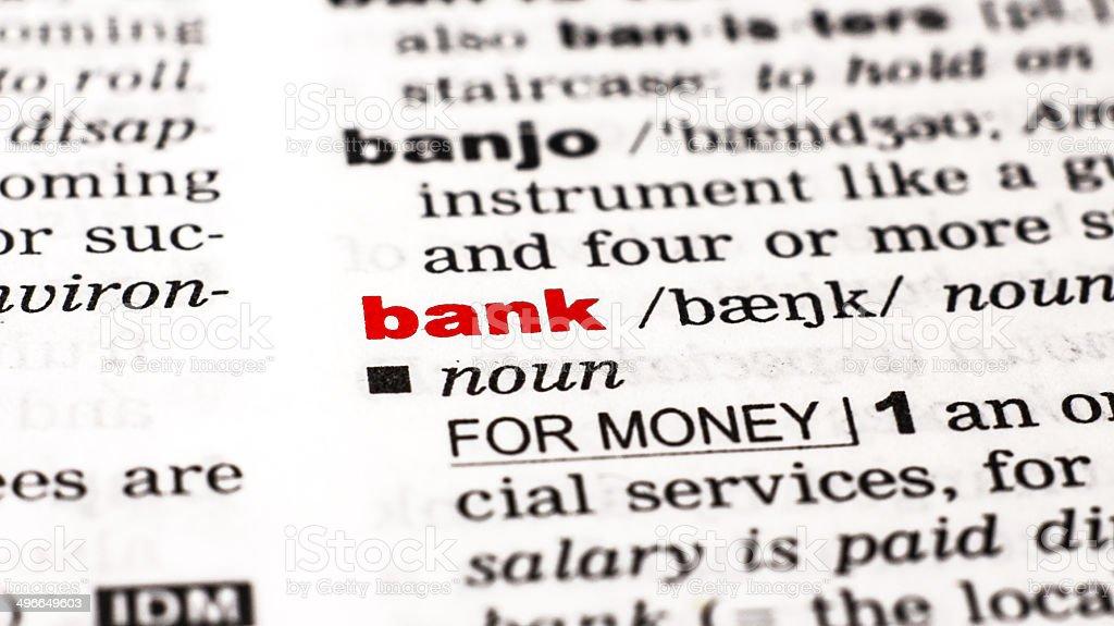 bank-Wort aus dem Wörterbuch/vocabulary Lizenzfreies stock-foto