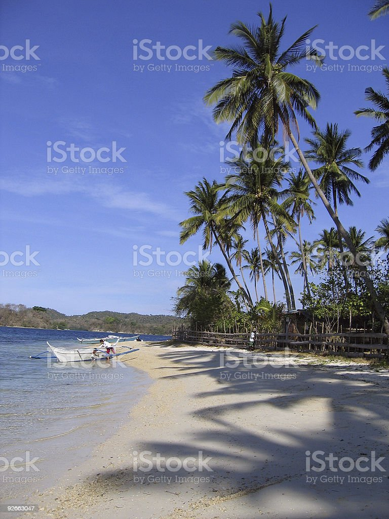 banka outrigger tropical beach philippines royalty-free stock photo