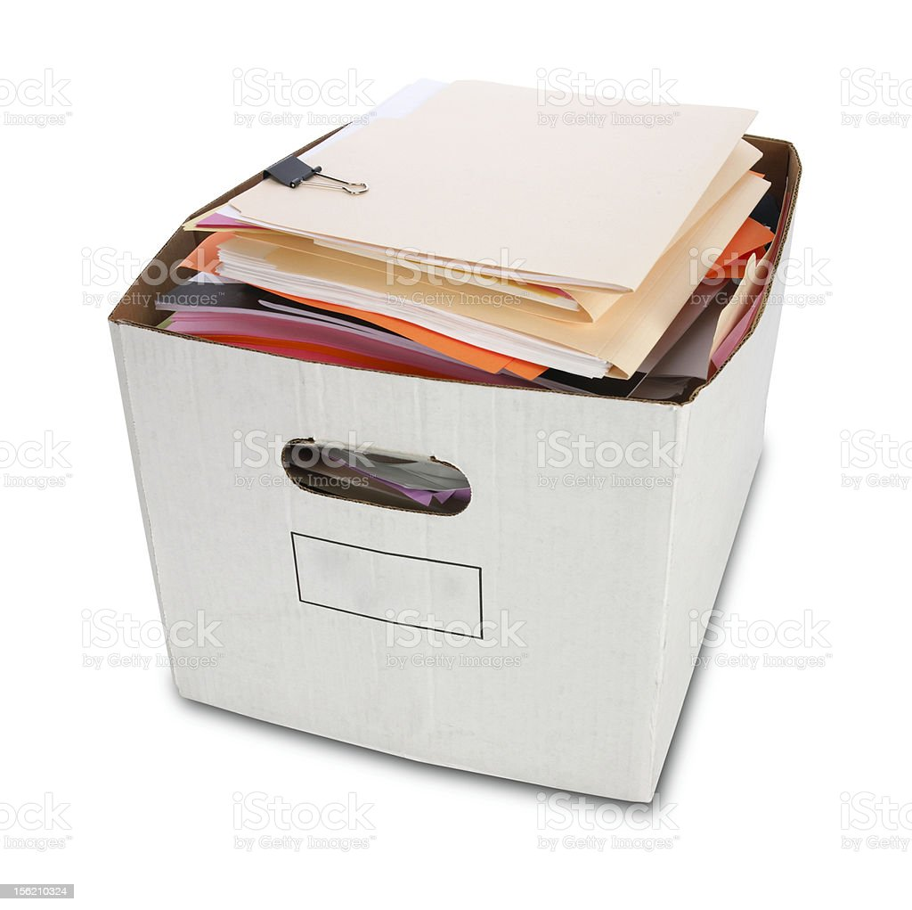 Bankers Box with File Folders stock photo