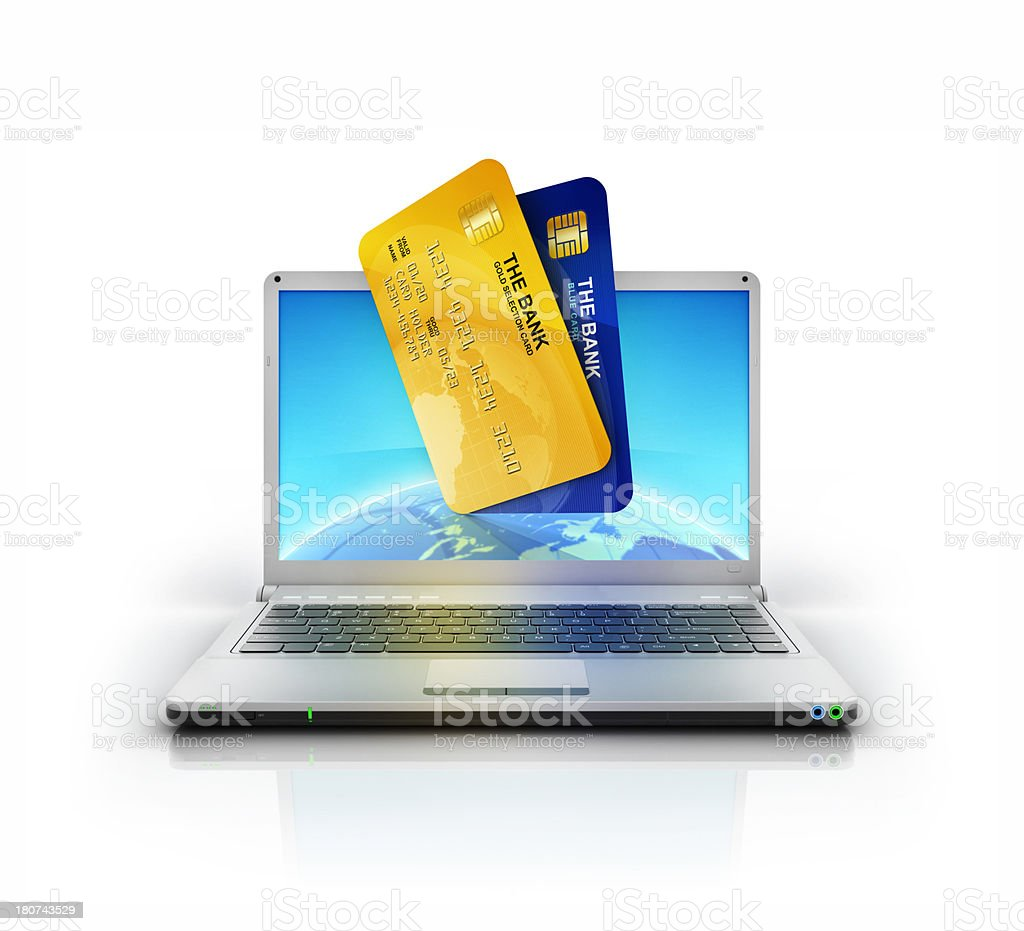 Banking cards with globe in metallic stylish laptop screen stock photo