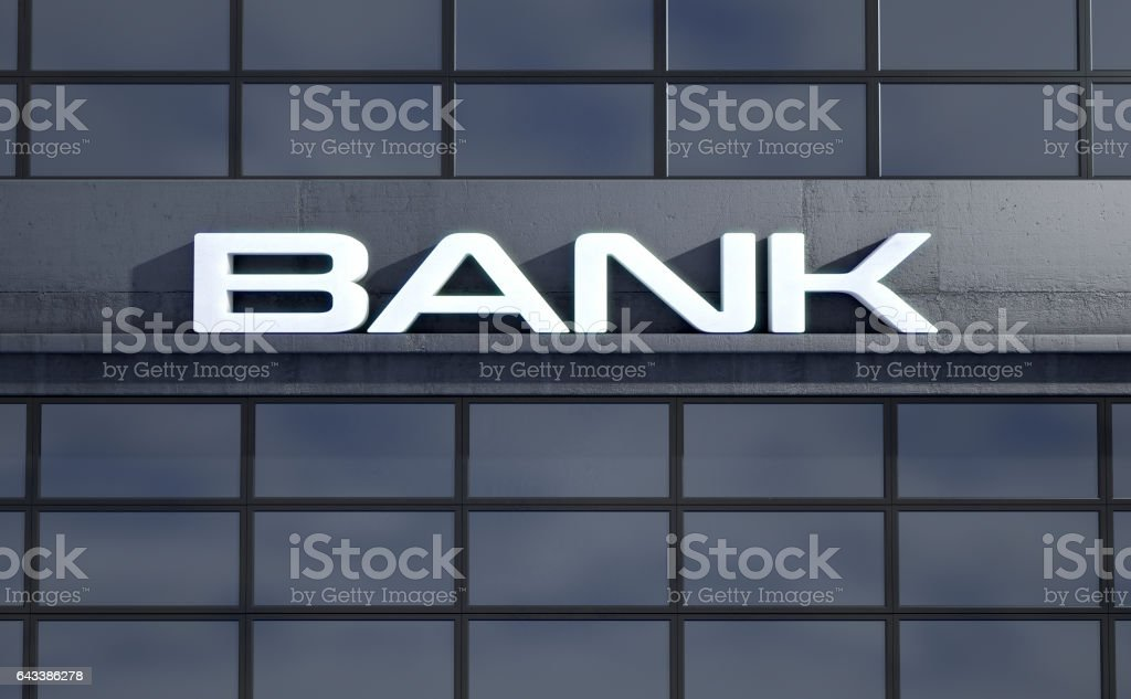 Banking light boxSignage above the entrance to a modern bank stock photo