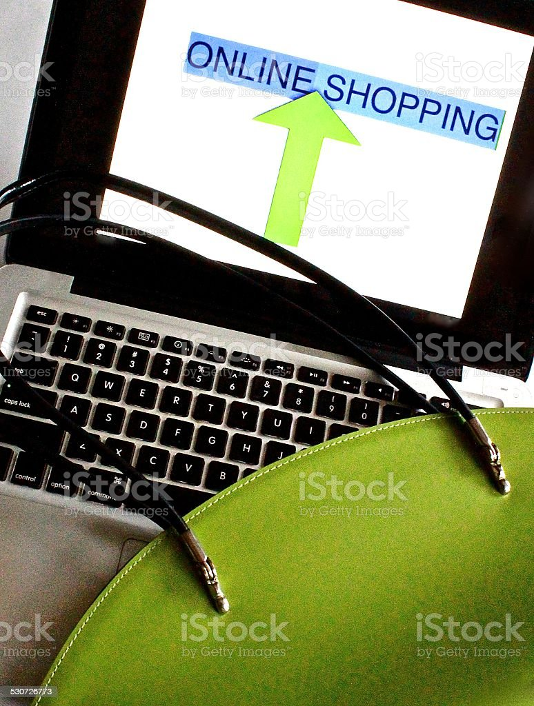Banking or Shopping Online with computer stock photo