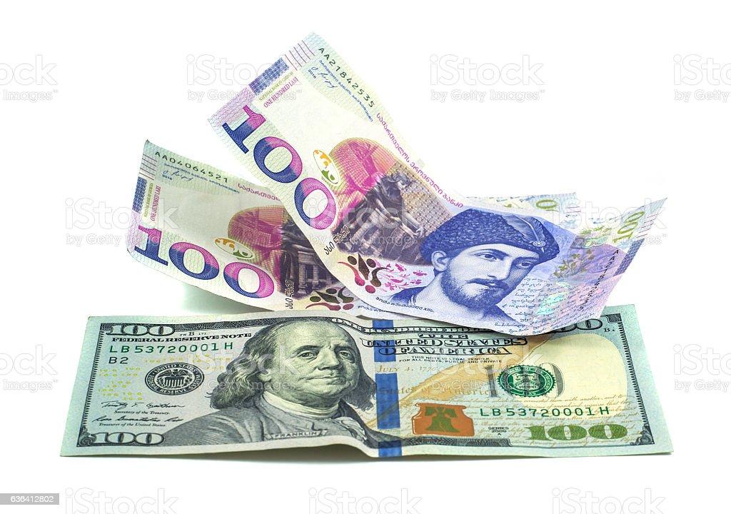 Banknote 100 GEL, 100$, 2016 stock photo