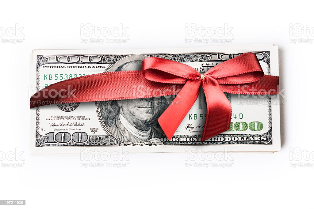 banknote gift for christmas stock photo