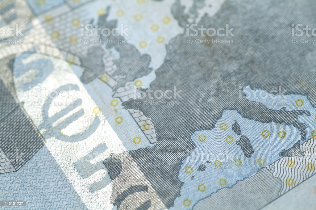 Banknote of five Euros macro stock photo