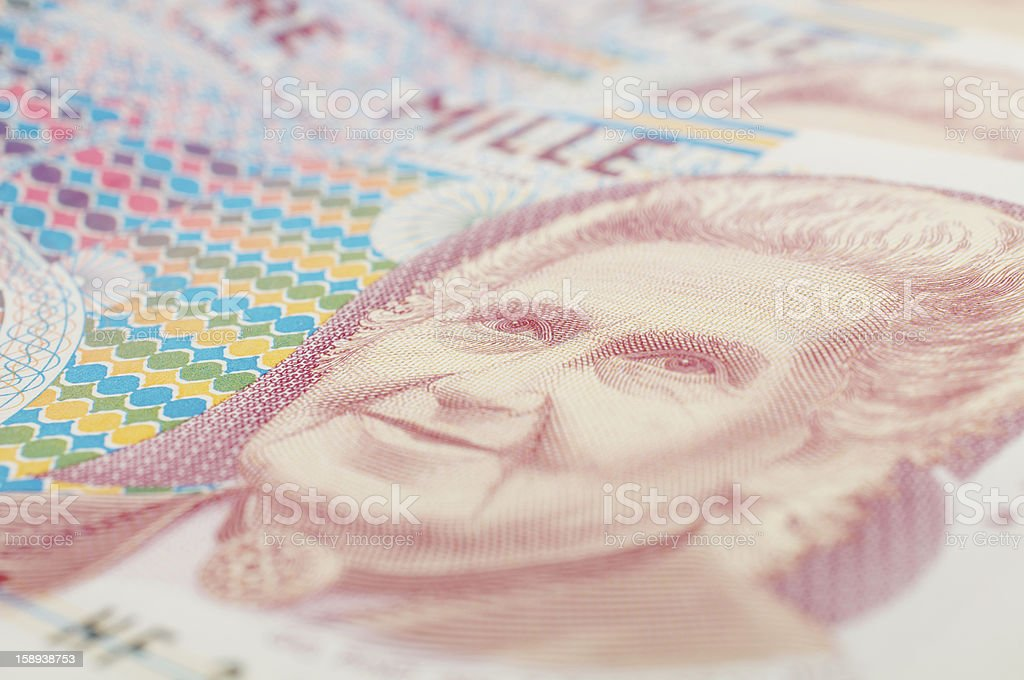 banknote of thousand liras royalty-free stock photo
