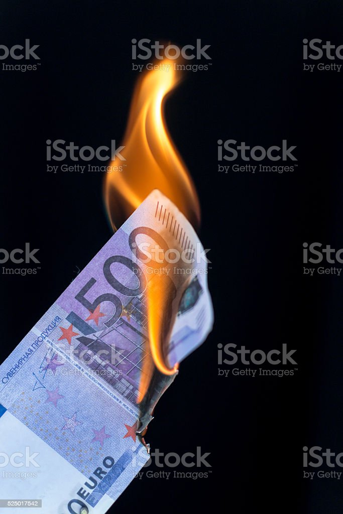 500 EURO Banknote on Fire stock photo