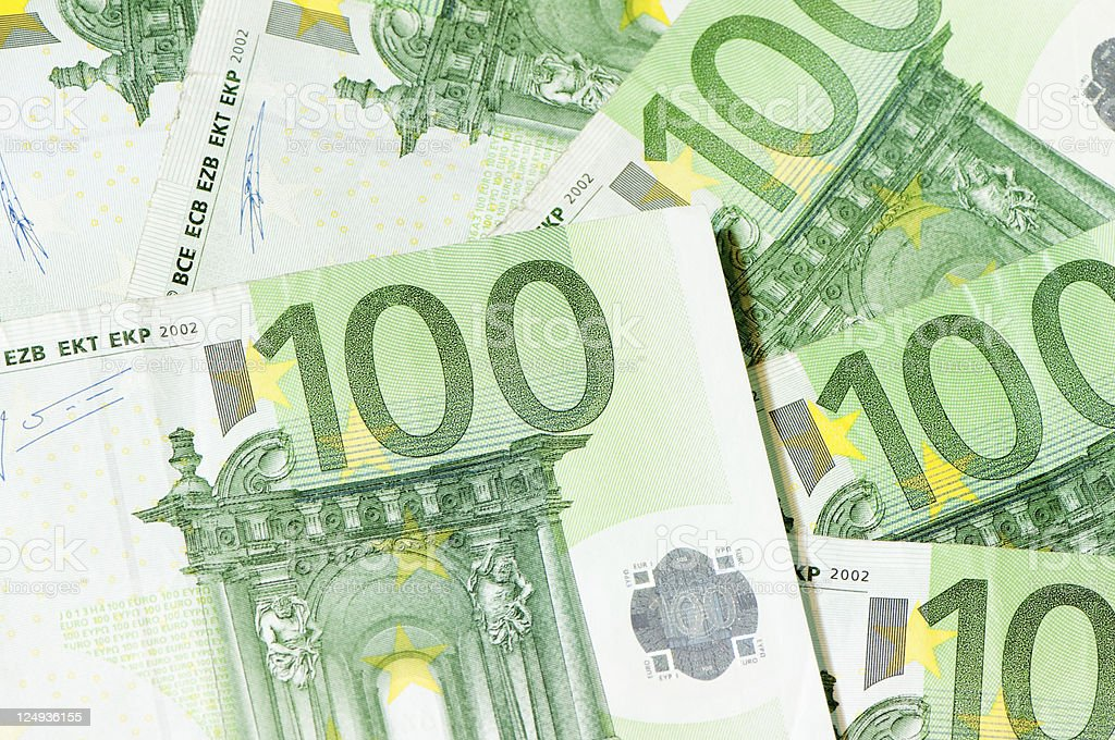 EU banknotes, 100 Euro bills, background stock photo