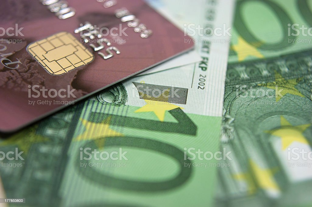 Banknotes and credit card. royalty-free stock photo