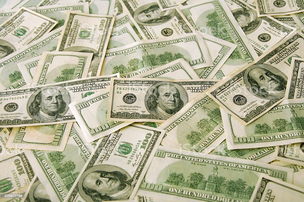 $100 banknotes background stock photo