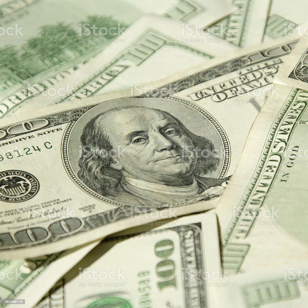 $100 banknotes close-up stock photo