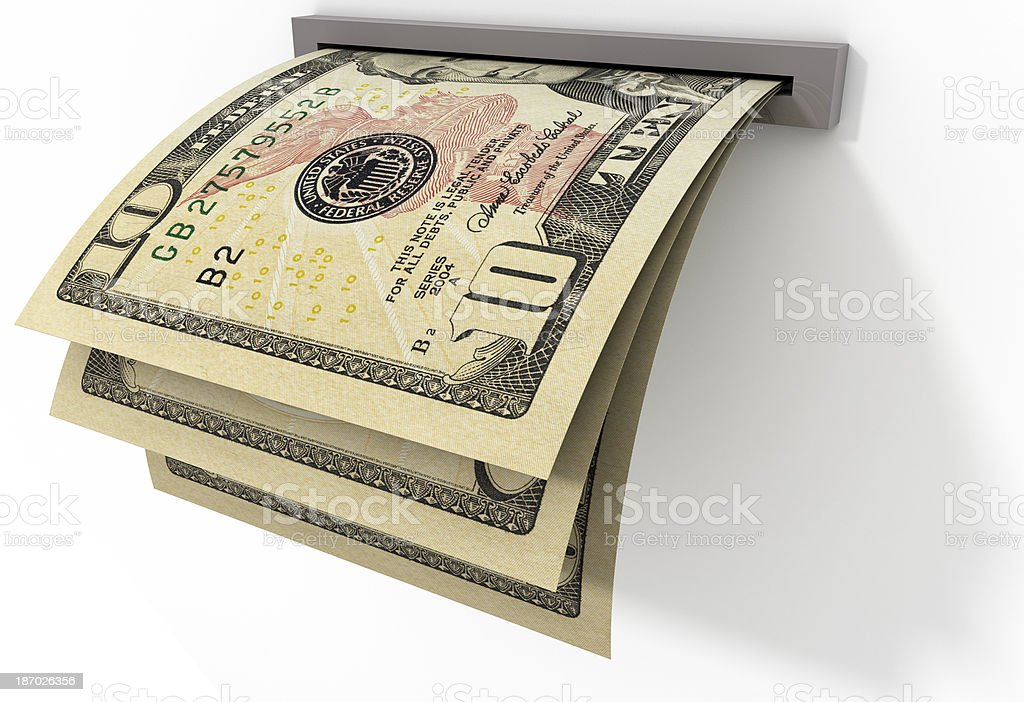 Banknotes of $ 10 being delivered royalty-free stock photo