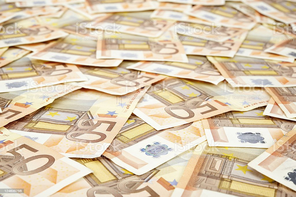 banknotes of 50 euro stock photo