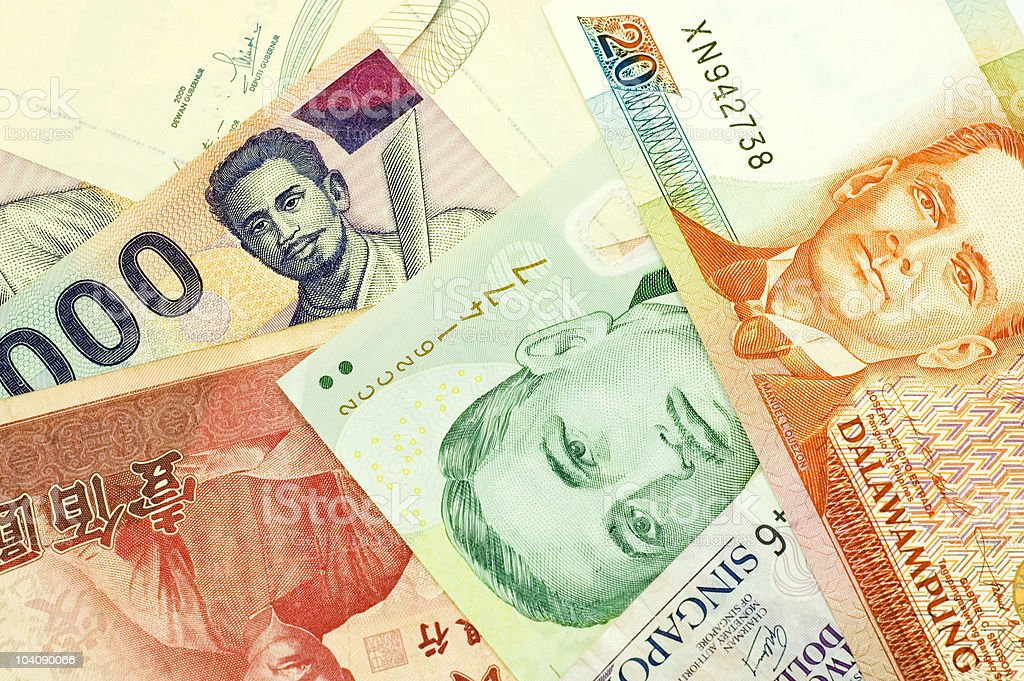 banknotes of Asian countries royalty-free stock photo