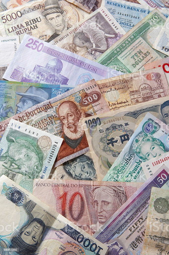 banknotes of different countries royalty-free stock photo
