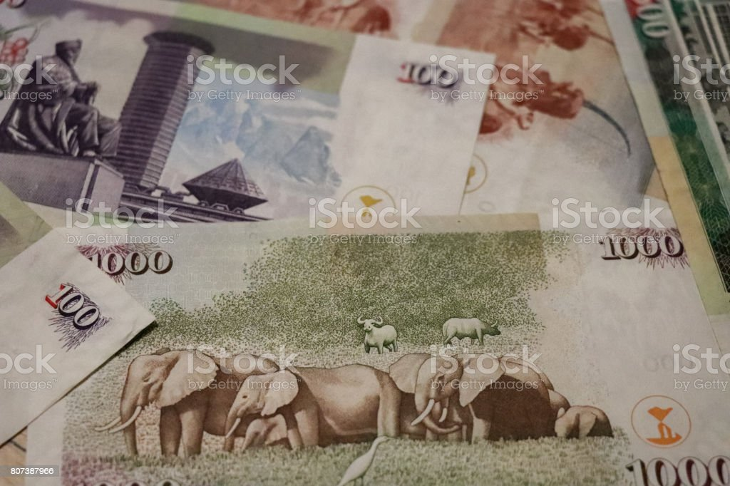 Banknotes of Kenya of different types and years. World paper money...