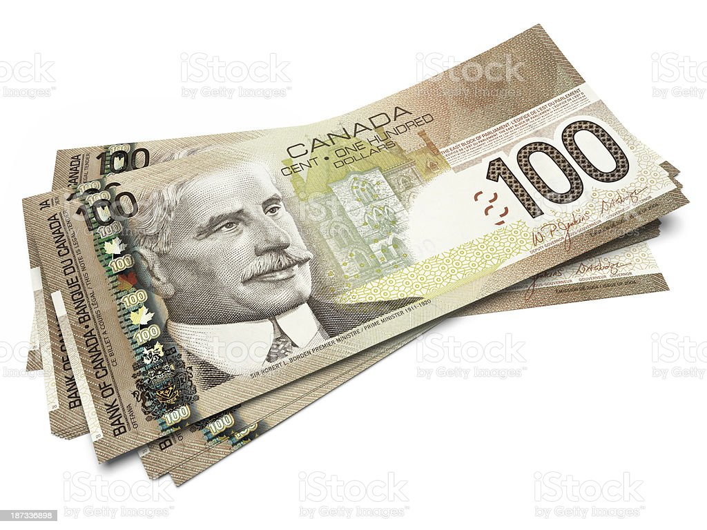 Banknotes of One hundred Canadian Dollars stock photo