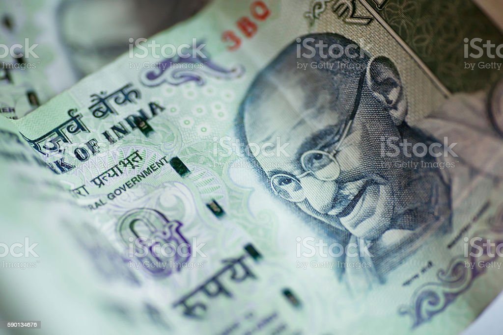 Banknotes of one hundred rupees. stock photo