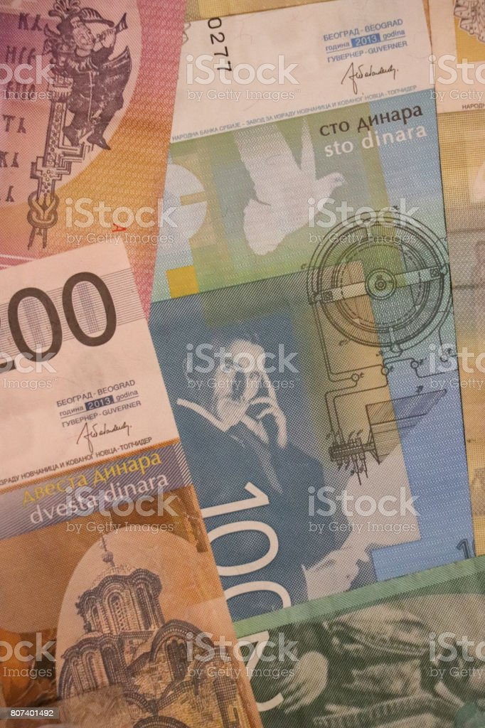 Banknotes of Serbia of different types and years. World paper money...