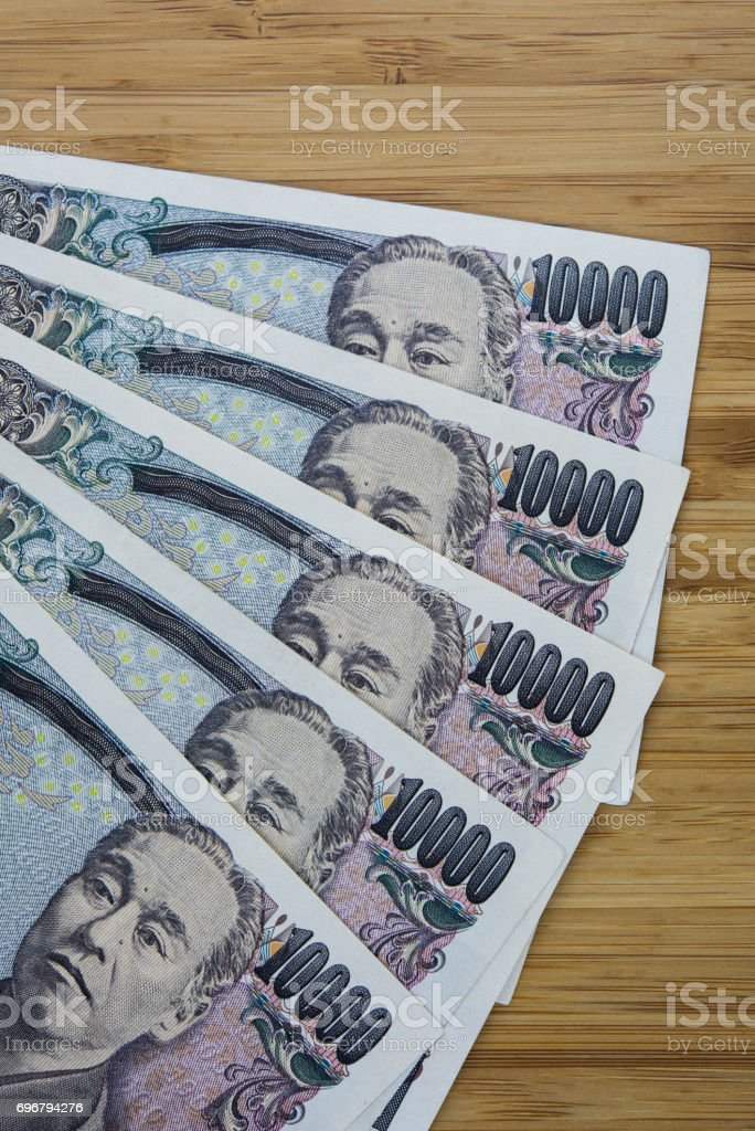 Banknotes of the Japanese yen stock photo