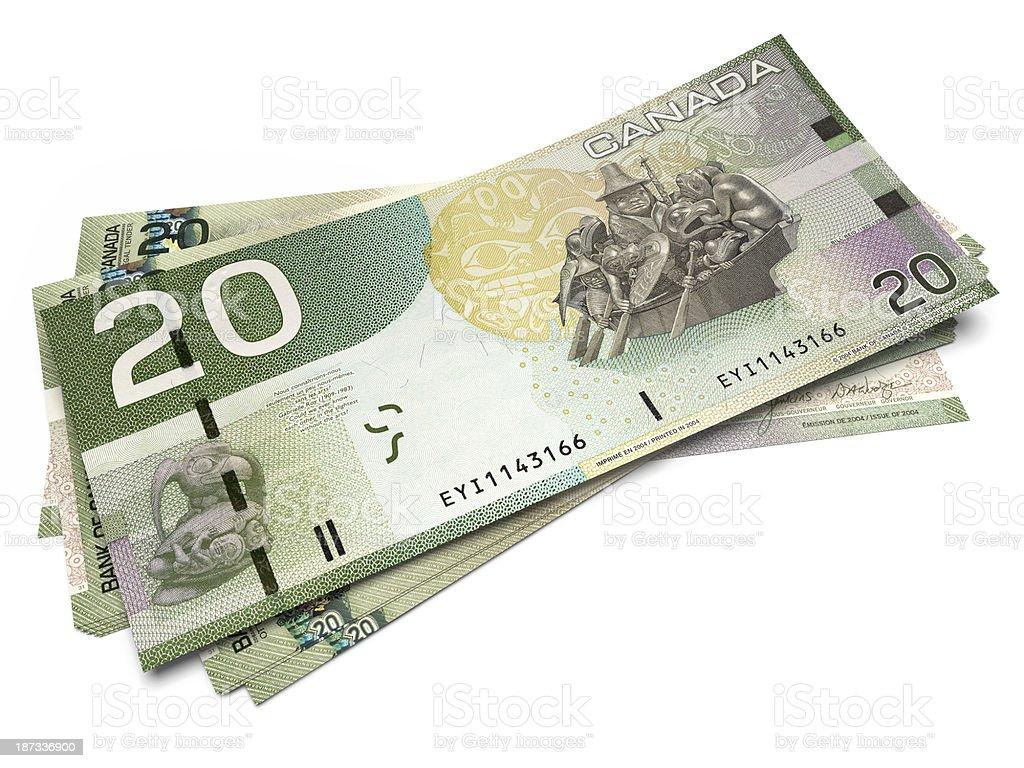 Banknotes of Twenty Canadian Dollars stock photo