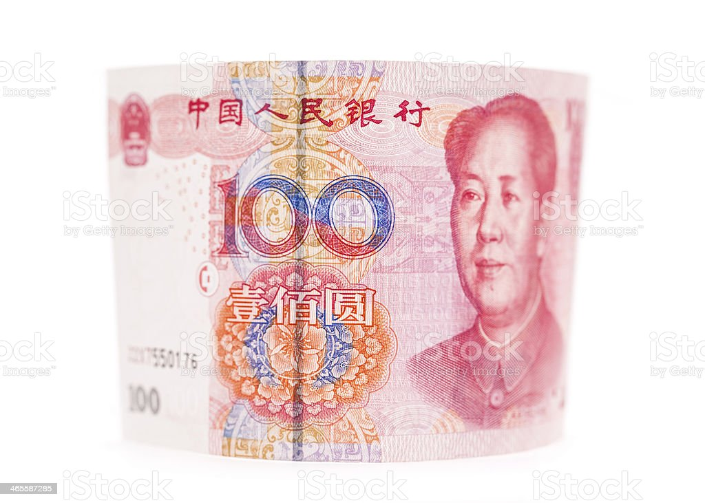 RMB banknotes rolled up on white background royalty-free stock photo