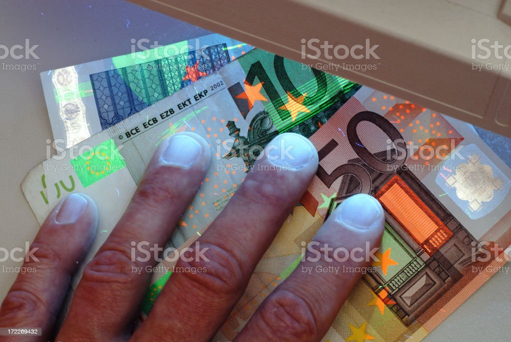 Banknotes security check royalty-free stock photo