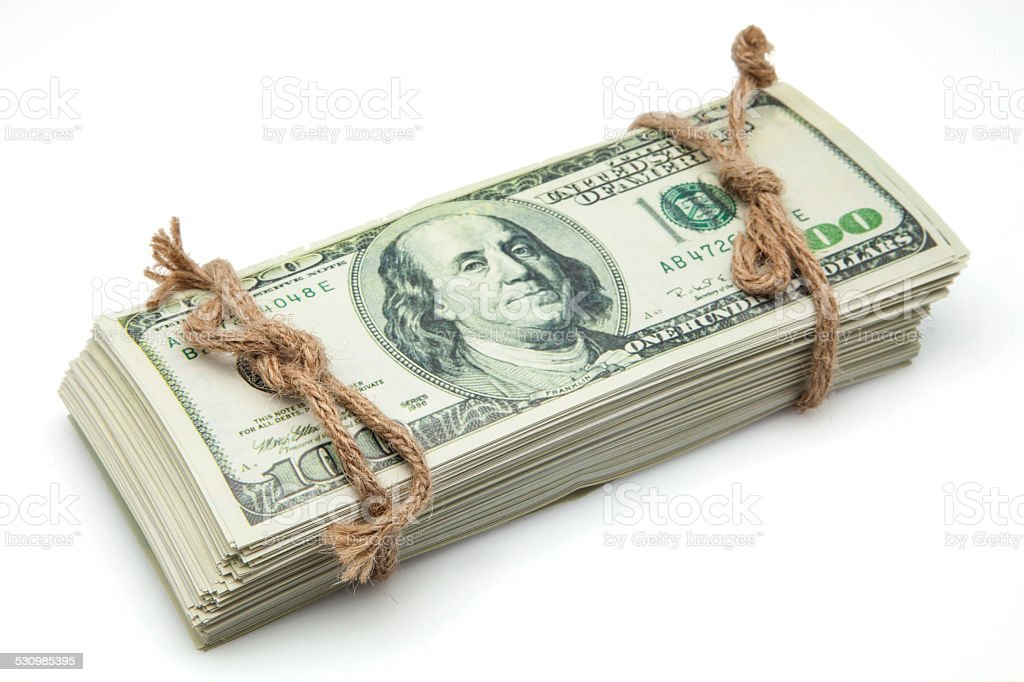 banknotes tied with rope stock photo