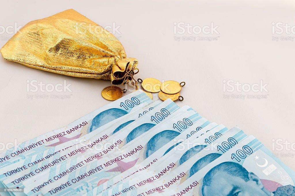 bankroll and gold, Turkish lira stock photo