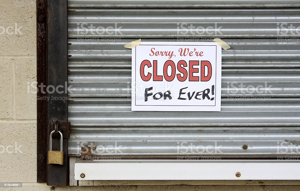 Bankrupt Business with a closed forever sign on the door stock photo