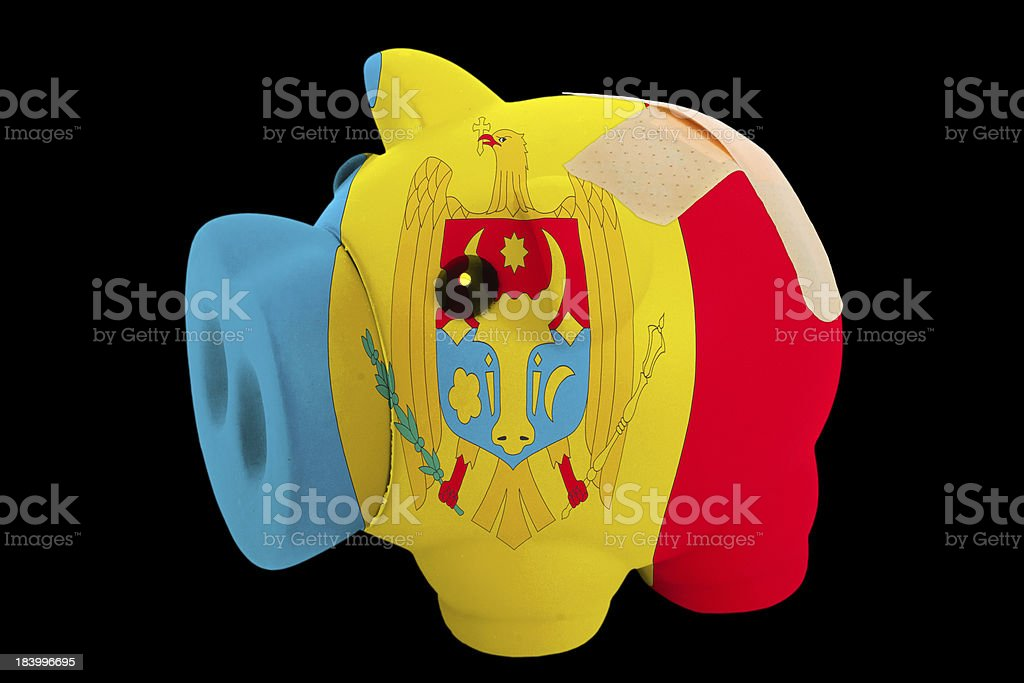 bankrupt piggy rich bank in colors of moldova royalty-free stock photo