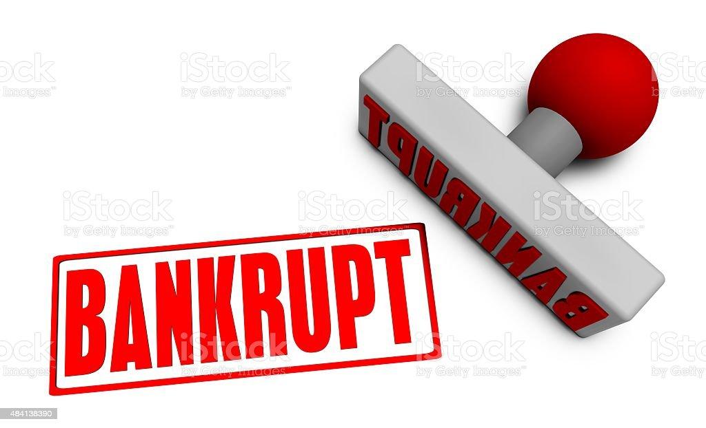 Bankrupt Stamp stock photo