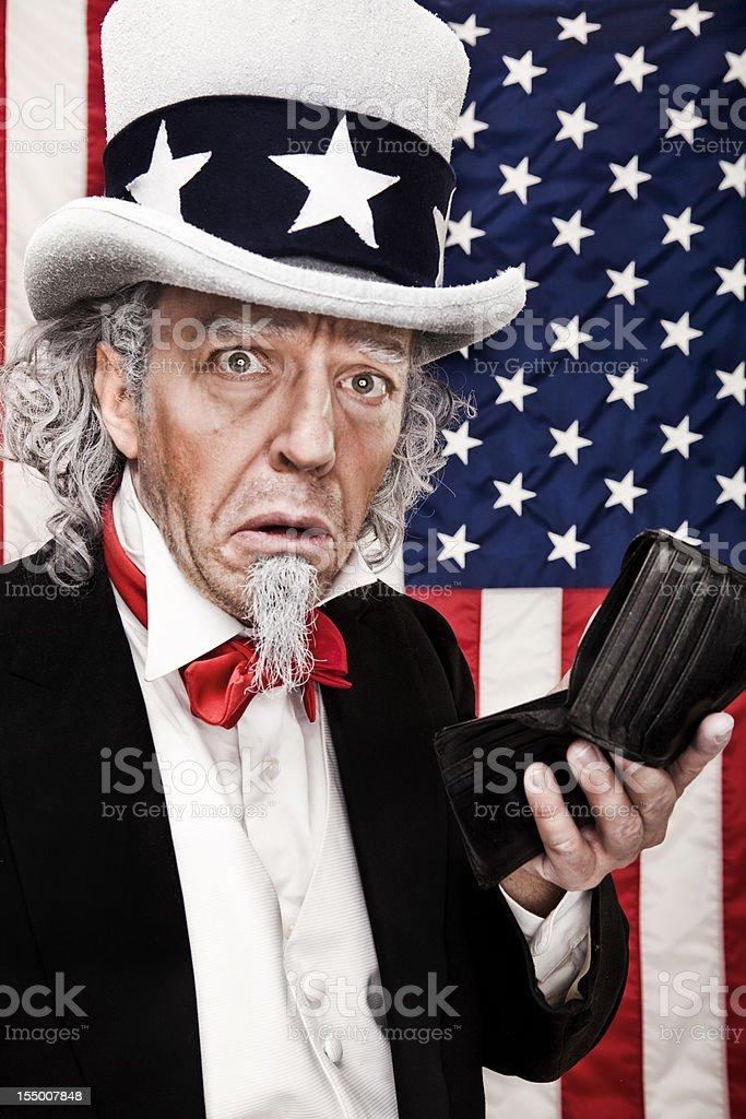 Bankrupt Uncle Sam stock photo