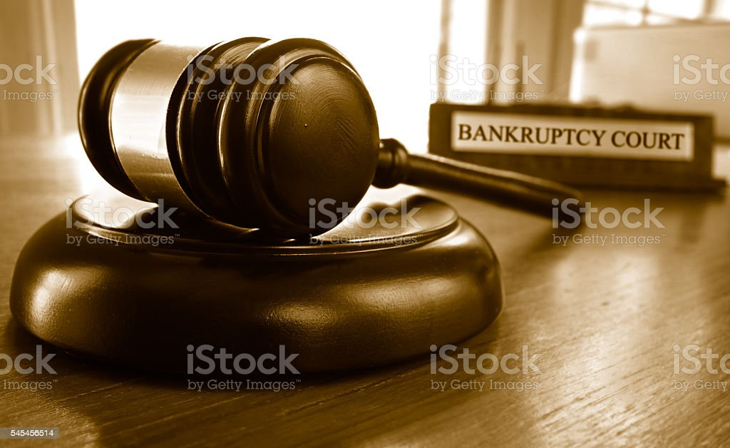 Bankruptcy court gavel stock photo