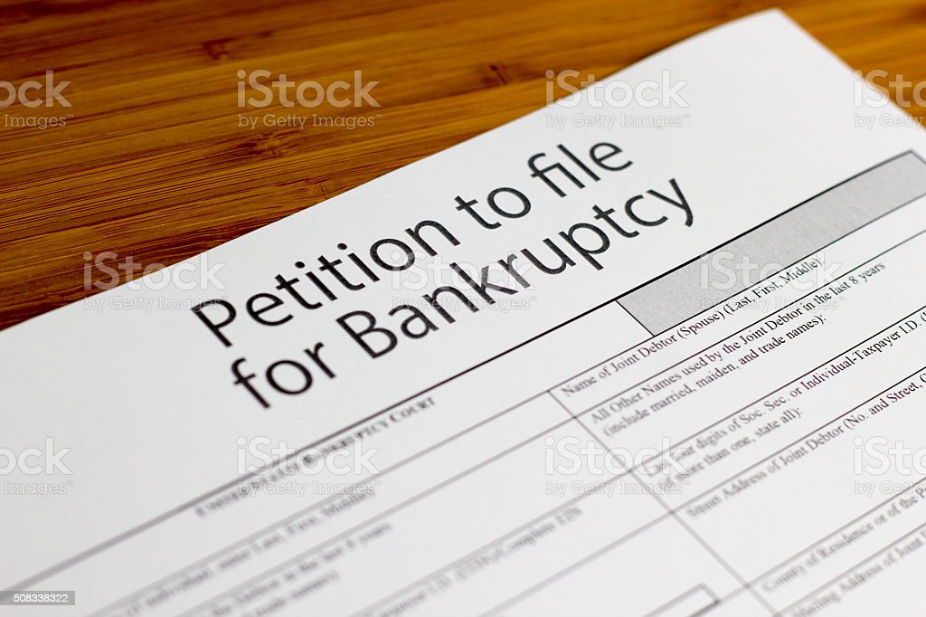 Bankruptcy petition stock photo