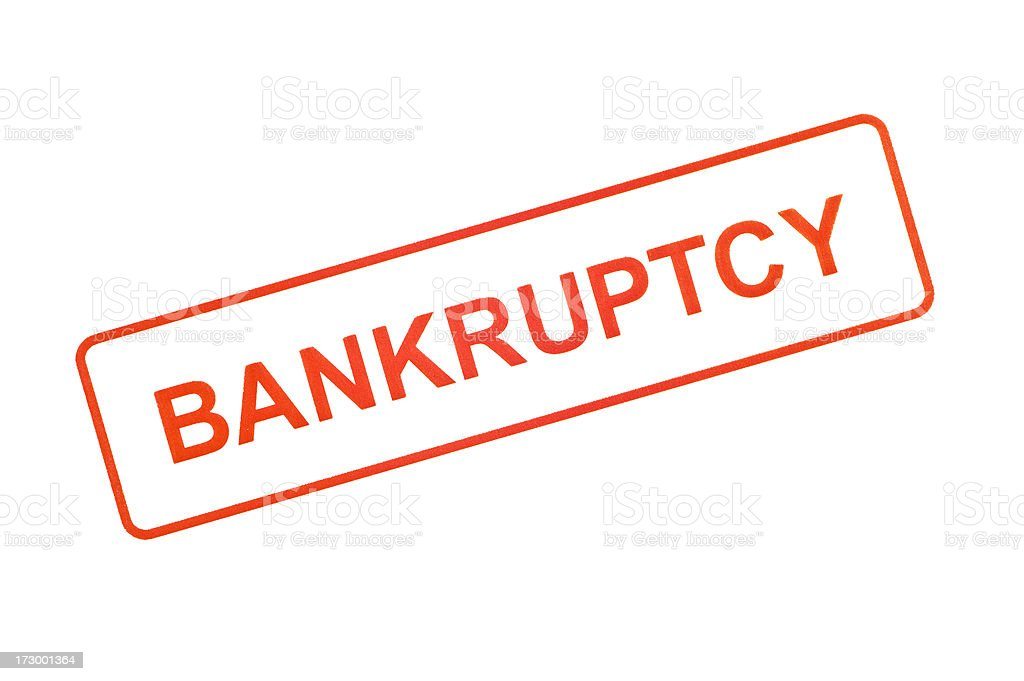 Bankruptcy Rubber Stamp stock photo