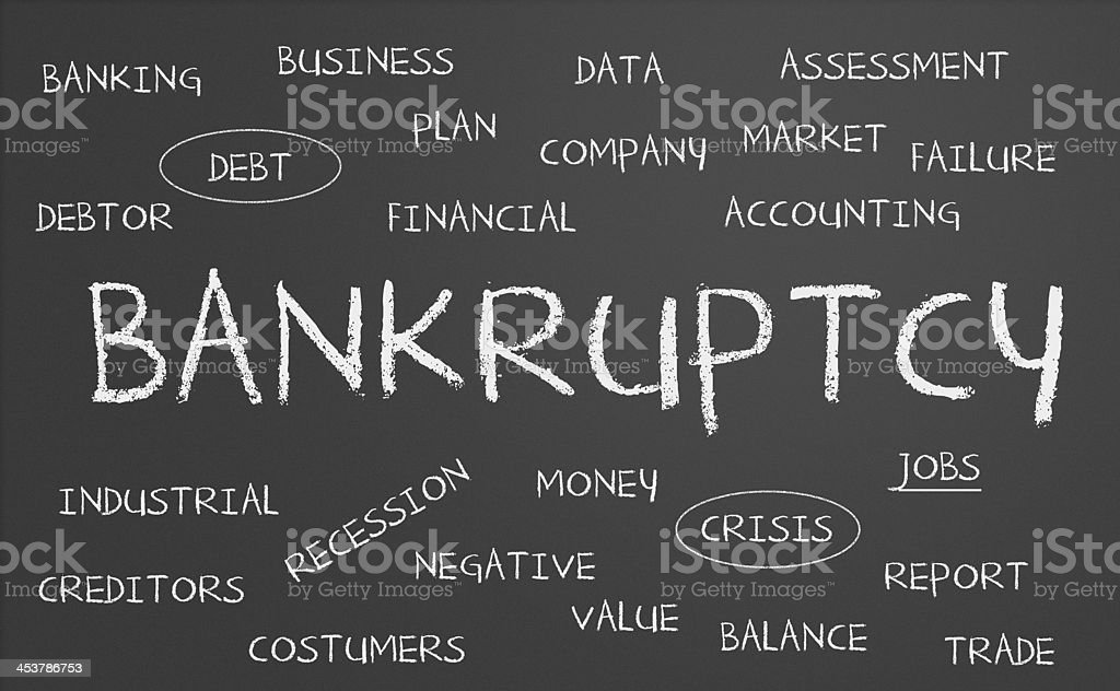 Bankruptcy word cloud royalty-free stock photo