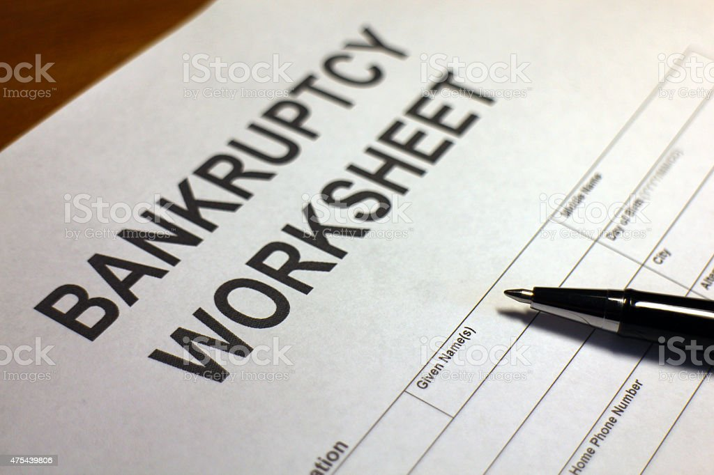 Bankruptcy Worksheet stock photo