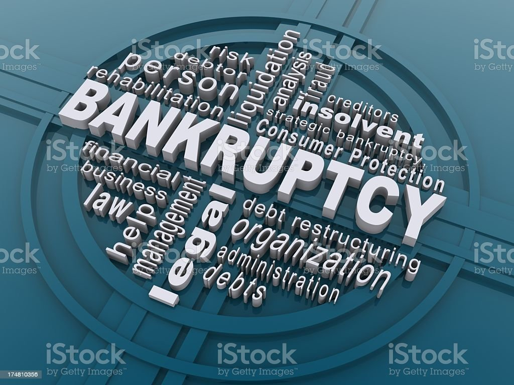 Bankruptcy written in white surrounded by words stock photo