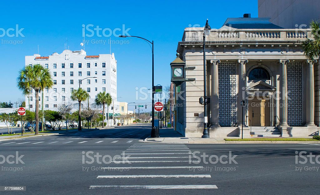 Banks and Downtown Instersection stock photo